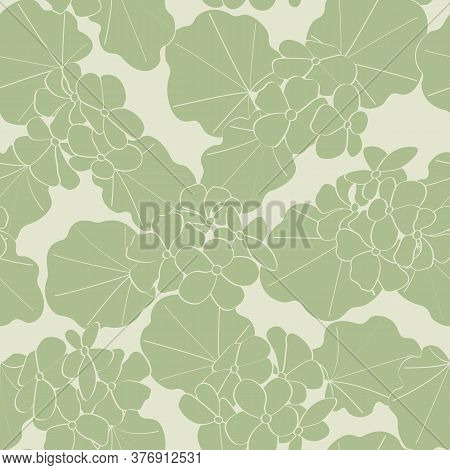 Vector Geranium Flowers Silhouttes In Green On Green Background Seamless Repeat Pattern. Background