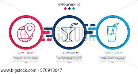 Set Line Location On The Globe, Martini Glass And Cocktail And Alcohol Drink. Business Infographic T