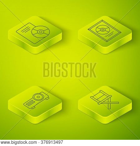 Set Isometric Cd Disk Award In Frame, Movie, Film, Media Projector, Director Movie Chair And Cd Or D