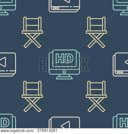 Set Line Online Play Video, Director Movie Chair And Monitor With Hd Video On Seamless Pattern. Vect