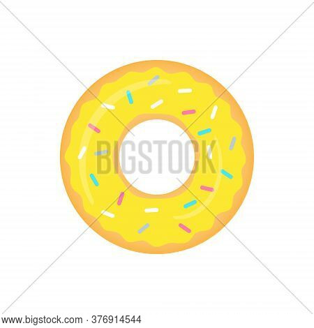 Yellow Donut Vector Isolated On White. Sweet Donuts With Banana Glaze Illustration.