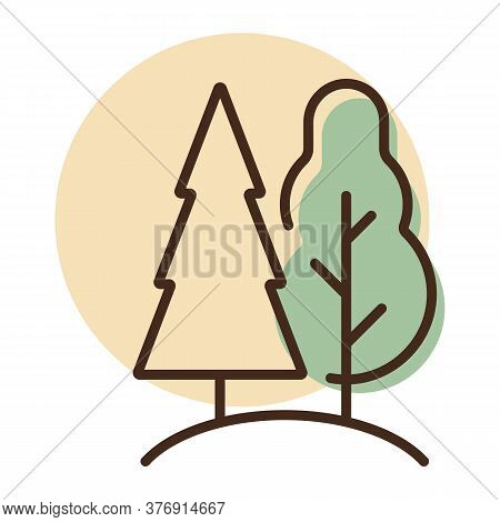 Deciduous And Conifer Forest Vector Icon. Nature Sign. Graph Symbol For Travel And Tourism Web Site