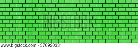 Panorama Of Green Brick Wall Texture And Seamless Background. Brickwork Or Stonework Flooring Interi