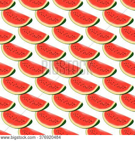 Theme Big Colored Seamless Watermelon, Bright Berry Pattern For Seal. Berry Pattern Consisting Of Be