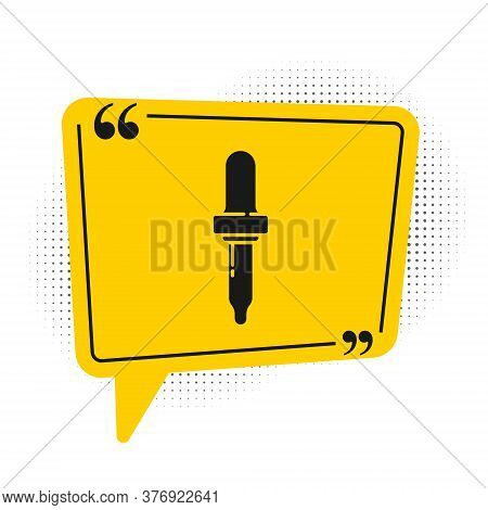 Black Pipette Icon Isolated On White Background. Element Of Medical, Chemistry Lab Equipment. Pipett