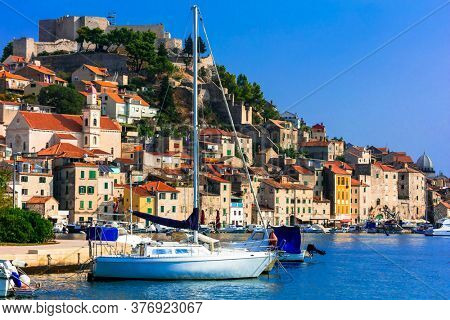 Beautiful places of Croatia - magnifiicent medieval town Sibenik in Adriatic coast
