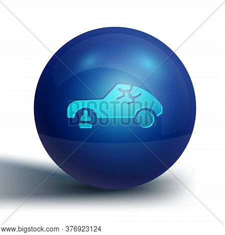 Blue Broken Car Icon Isolated On White Background. Car Crush. Blue Circle Button. Vector Illustratio