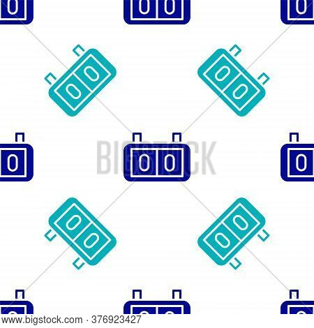 Blue Sport Mechanical Scoreboard And Result Display Icon Isolated Seamless Pattern On White Backgrou