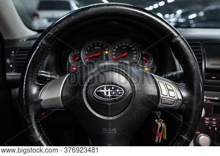 Novosibirsk/ Russia - June 15 2020: Subaru Outback,   Steering Wheel, Shift Lever, Multimedia  Syste