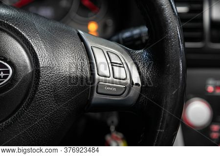 Novosibirsk/ Russia - June 15 2020: Subaru Outback, Car Controller On Steerling Wheel ,music,control
