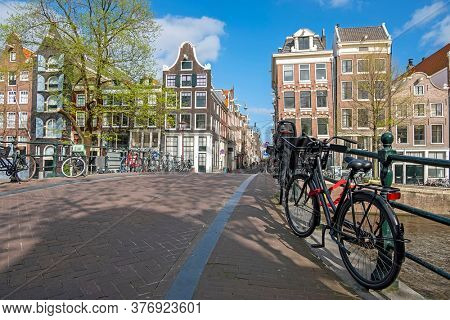 City scenic from Amsterdam at the Prinsengracht in the Netherlands