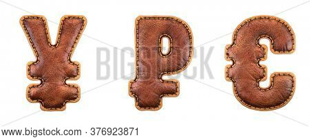 Set of symbols yen, rouble and euro made of leather. 3D render font with skin texture isolated on white background. 3d rendering