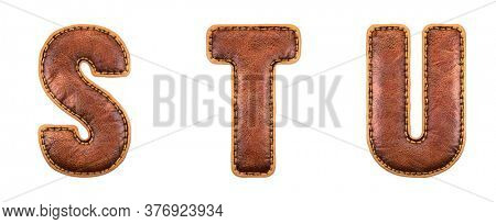 Set of leather letters S, T, U uppercase. 3D render font with skin texture isolated on white background. 3d rendering