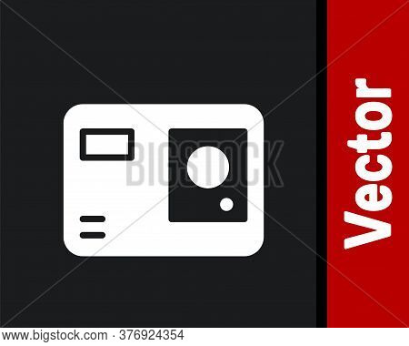 White Action Extreme Camera Icon Isolated On Black Background. Video Camera Equipment For Filming Ex