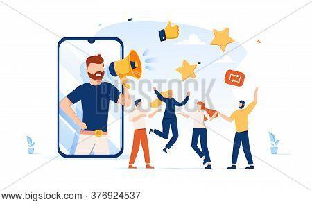 Vector Illustration, Referral Marketing Concept, Friends Loyalty Program, Promotion Method. Invite P