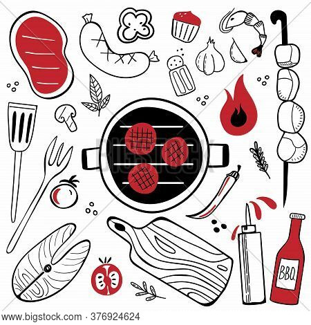 Bbq Doodle Set. Hand Drawn Modern Barbeque Cooking Food Collection, Meat, Vegetables And Tools For G