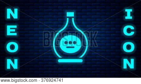 Glowing Neon Bottle Of Cognac Or Brandy Icon Isolated On Brick Wall Background. Vector Illustration