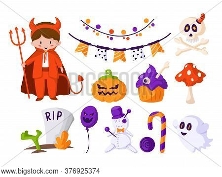 Halloween Cartoon Set - Boy In Halloween Costume Of Devil, Cute Scare Pumpkin, Candy Cane, Creepy Gh