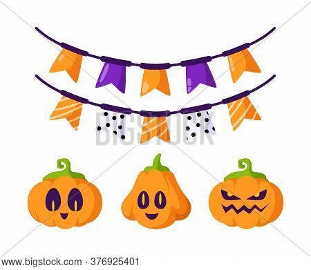 Halloween Cartoon Set - Cute Carving Pumpkin Jack Lantern, Scary Creepy Faces, And Festive Garland W