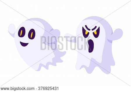 Halloween Cartoon Scary Creepy Ghost, Traditional Holiday Symbols - Isolated Elements On White Backg
