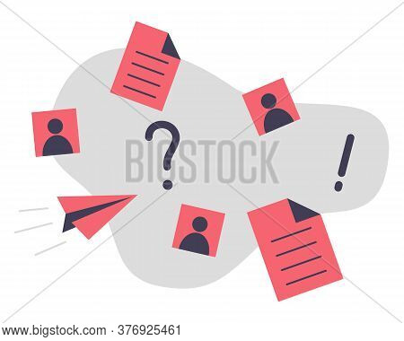 More Information Concept Vector Illustration. Paper Documents, Avatar Picture, Question Mark And Exc