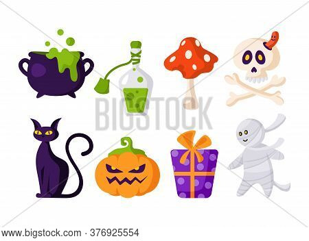 Halloween Cartoon Set - Scary Pumpkin Lantern Jack, Scull And Bones, Gift Box, Black Cat, Potion, Ca