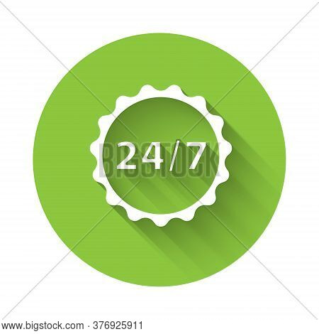 White Clock 24 Hours Icon Isolated With Long Shadow. All Day Cyclic Icon. 24 Hours Service Symbol. G