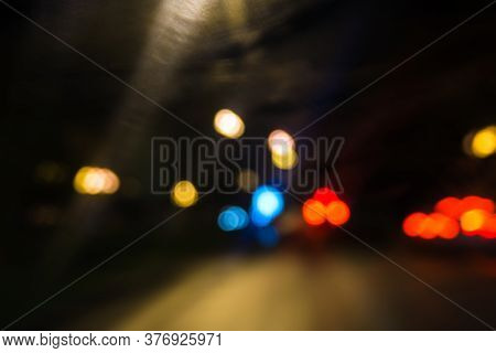 Long Exposure Neon Lights On The Black Background. Freezelight. Lens Flare. City Lights, Abstract Bl
