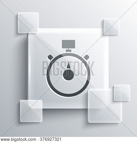 Grey Stopwatch Icon Isolated On Grey Background. Time Timer Sign. Chronometer Sign. Square Glass Pan