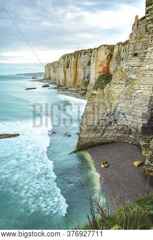 Incredible Colorful Cliff In Normandy, Etretat France