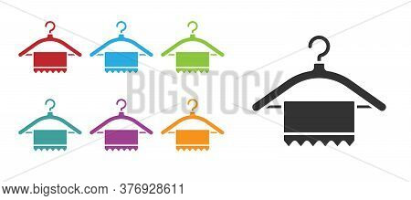 Black Hanger Wardrobe Icon Isolated On White Background. Clean Towel Sign. Cloakroom Icon. Clothes S