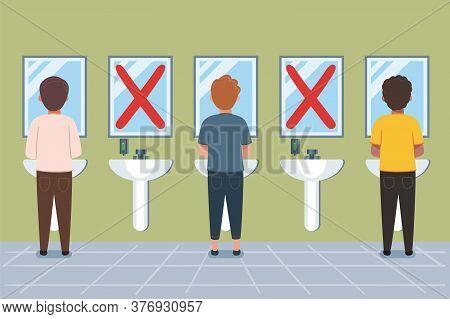 Social distance at washroom. Washroom signage for covid 19. Maintain social distancing during hand wash at wash basin. Awarness of how to use wash basin at common toilet.