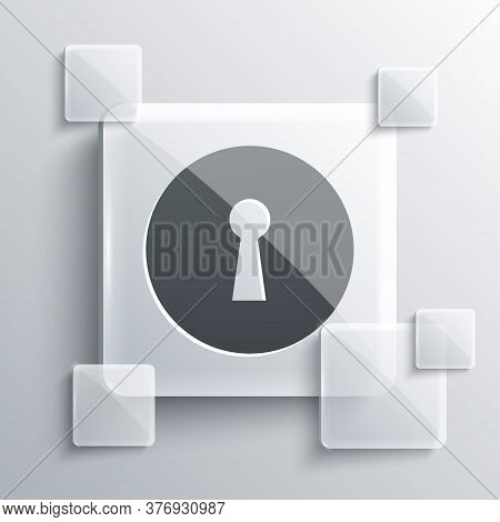 Grey Keyhole Icon Isolated On Grey Background. Key Of Success Solution. Keyhole Express The Concept