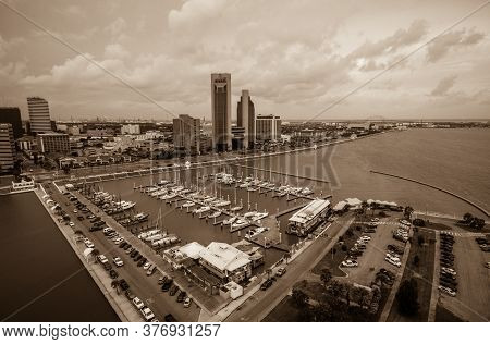 Aerial Drone Views Of Corpus Christi Texas Skyscrapers Rise Up Over The Bay Front Views Of The Gulf