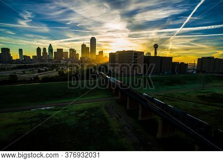 Sunrise  Dallas Texas Skyline Cityscape Perfect Downtown Silhouette At Sunrise Aerial Drone View Of