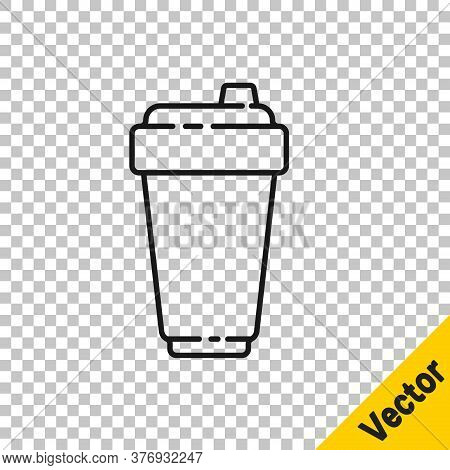 Black Line Fitness Shaker Icon Isolated On Transparent Background. Sports Shaker Bottle With Lid For