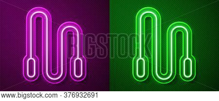 Glowing Neon Line Jump Rope Icon Isolated On Purple And Green Background. Skipping Rope. Sport Equip