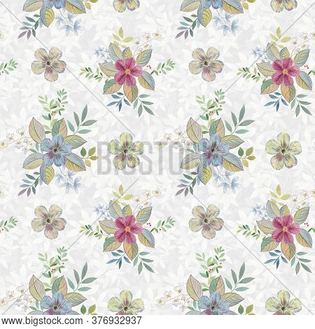 Seamless Floral Pattern On A Designer Background. Art Watercolor For Design, Packaging And Printing.