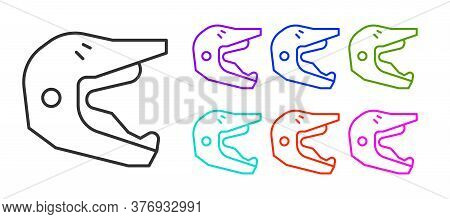 Black Line Motocross Motorcycle Helmet Icon Isolated On White Background. Set Icons Colorful. Vector