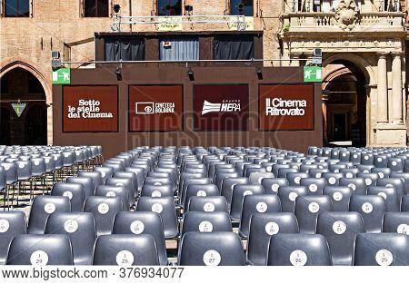 Bologna / Italy - July 18, 2020: Outdoor Cinema Festival (il Cinema Ritrovato). Piazza Maggiore, Bol