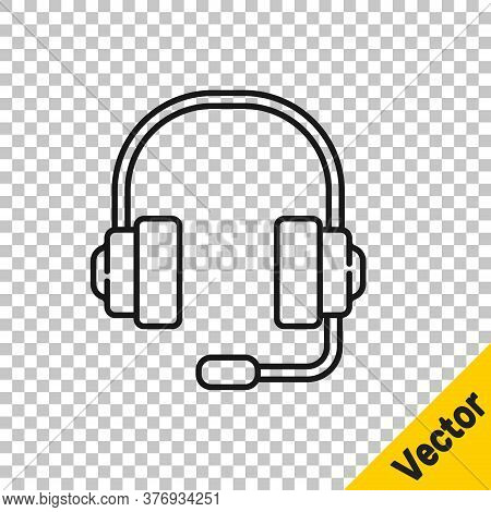 Black Line Headphones Icon Isolated On Transparent Background. Support Customer Service, Hotline, Ca