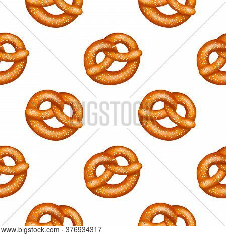 Seamless Pattern Of Realistic Tasty Pretzels With Salt Or Sesame, With Texture. Vector Illustration