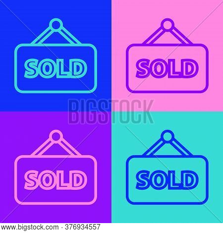 Pop Art Line Hanging Sign With Text Sold Icon Isolated On Color Background. Sold Sticker. Sold Signb