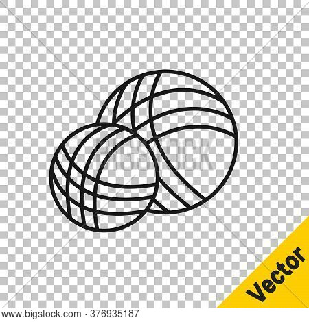 Black Line Yarn Ball Icon Isolated On Transparent Background. Label For Hand Made, Knitting Or Tailo