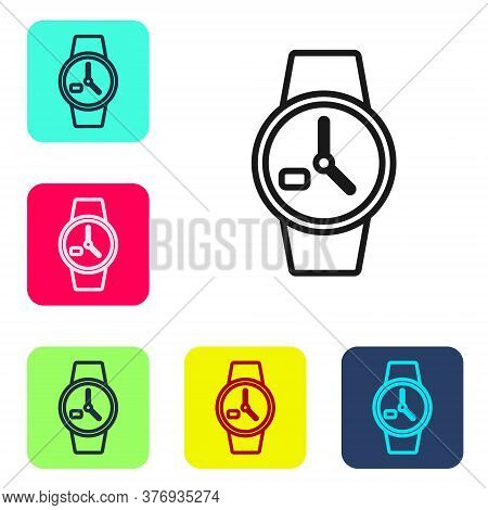 Black Line Wrist Watch Icon Isolated On White Background. Wristwatch Icon. Set Icons In Color Square