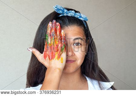 Happy Woman Hiding The Face With Her Painted Hand And Fingers. Creative, Art, Drawing