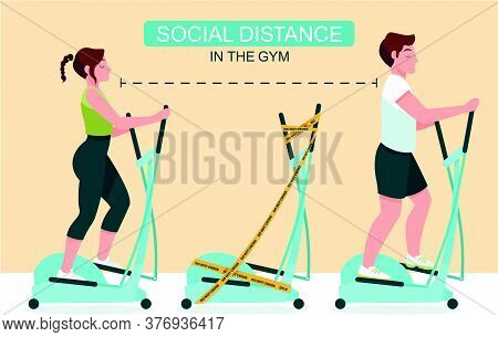 People Working Out In A Gym Following Social Distancing Of Physical Distancing And Hygiene,