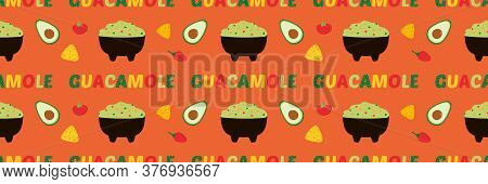 Vector Horizontal Seamless Pattern Background With Mexican Guacamole Dip, Spread In Bowl With Vegeta