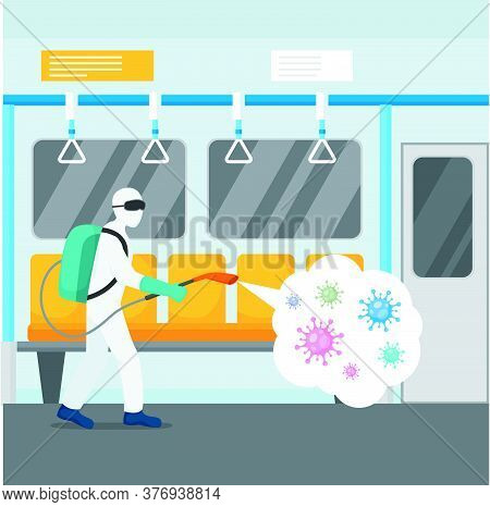 Disinfecting Works In Railway Transport Character Flat Concept Vector Illustration. A Man In Special