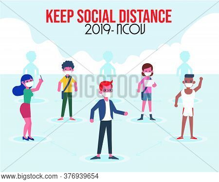 Social Distancing Concept For Preventing Coronavirus With People Keeping A Circular Distance Boundar